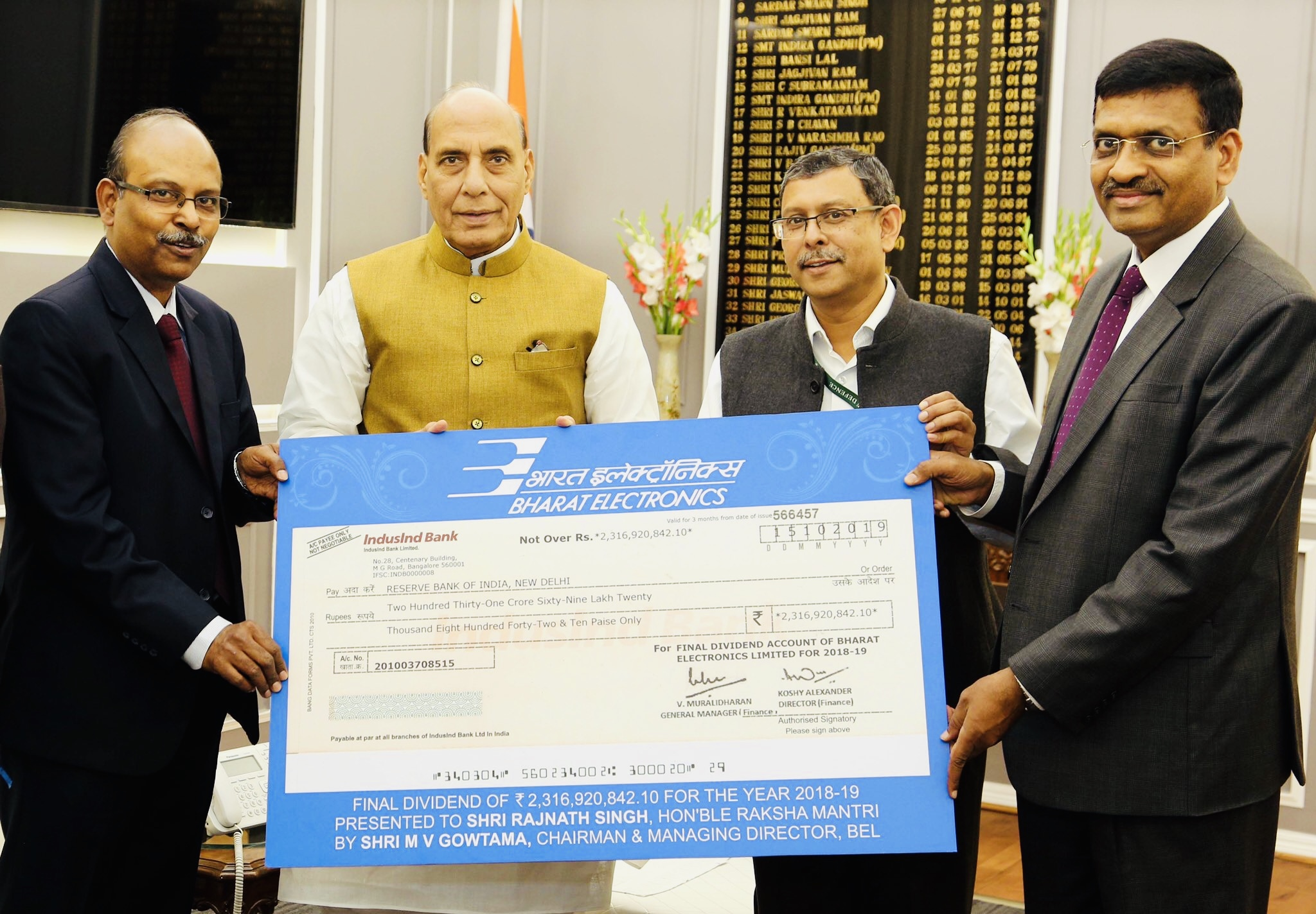 BEL pays Rs 232 Crore as final dividend to government
