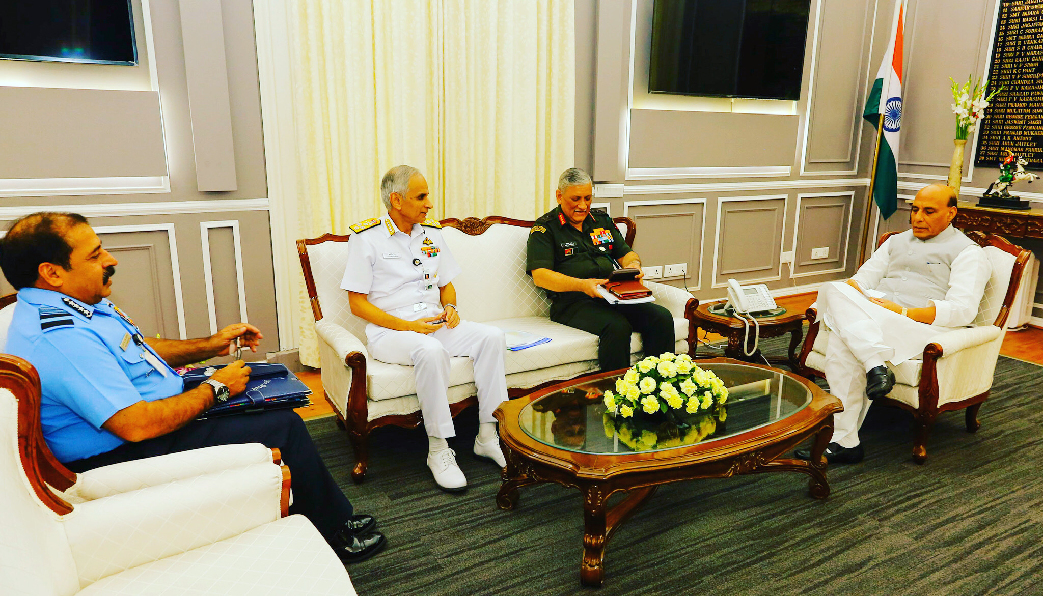 Service chiefs meet Defence Minister