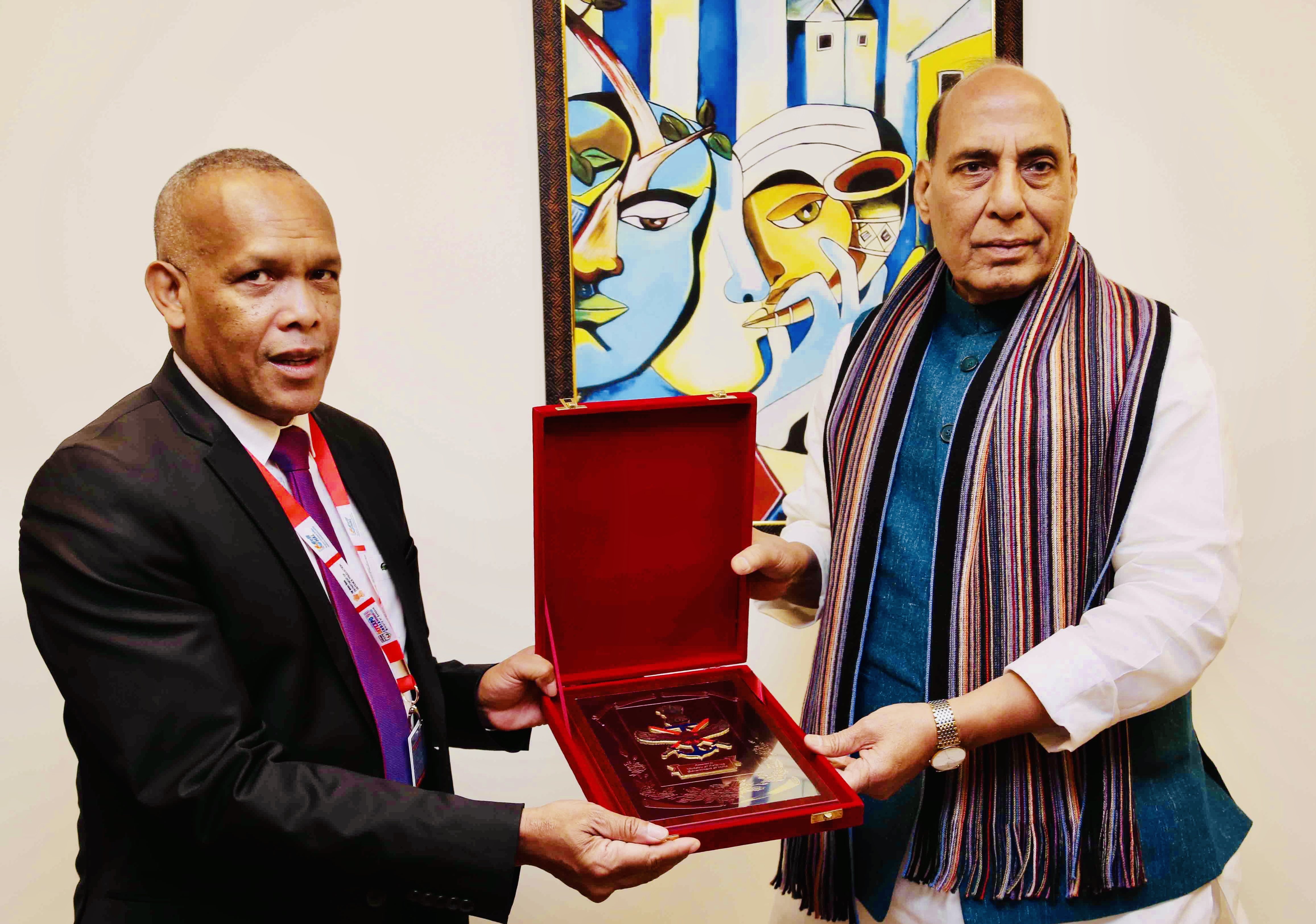 DefExpo 2020: Rajnath Singh discusses maritime security ties with Madagascar counterpart