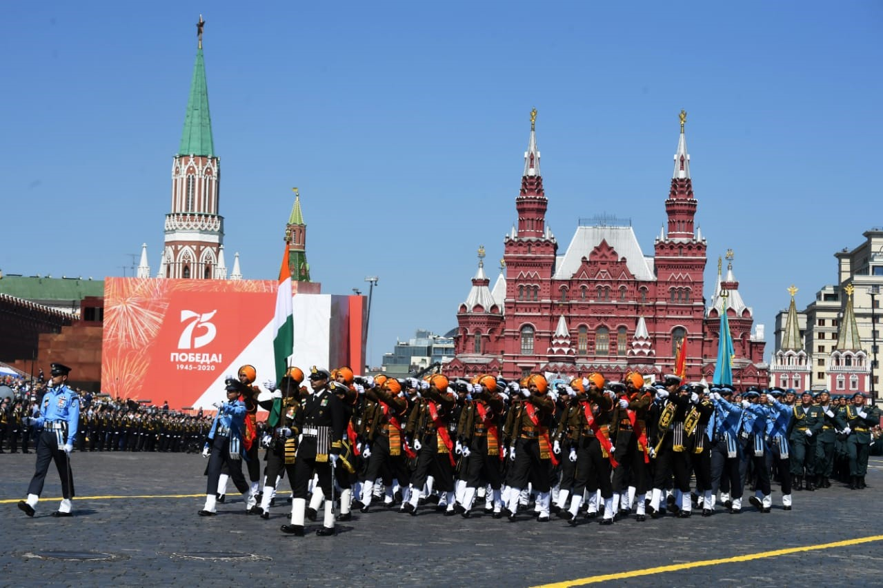 India's triservice contingent participates in Victory Day parade in Russia