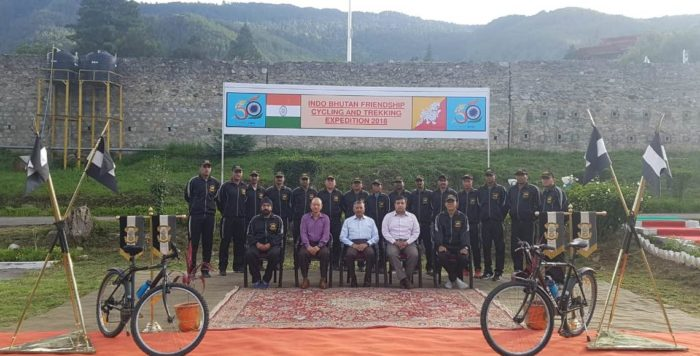 Indian, Bhutanese Armies flags-in joint cycling expedition in Thimpu