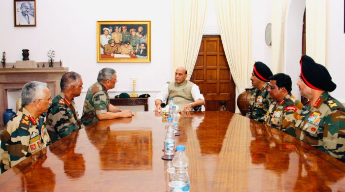 Rajnath Singh meets top Army commanders