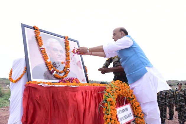 Rajnath Singh pays tribute to former PM Vajpayee at Pokharan